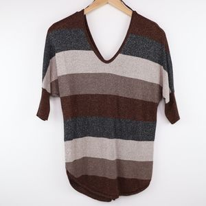 Express Sparkle Striped V-Neck